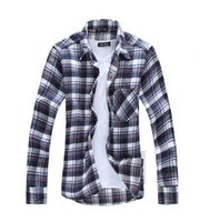 Wholesale Autumn And Winter Explosion Men s Thick flannel sanding Check Pattern Shirt More Colors