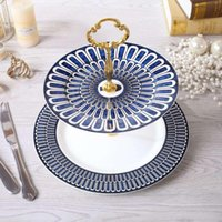 Wholesale European pastry cake double layer fruit plate high grade English bone china dessert dish rack Western tableware