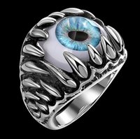 Wholesale The ancient Maya Eye of the demon stainless steel ring The European and American wind creative man titanium steel bracelet