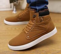 Wholesale Korean Style Drop Shipping - High Top Sneakers High Top Sneakers Men Boot Fashion Spring Autumn Men Shoes Korean Style Canvas Sneakers Walking Casual Drop Ship
