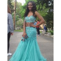 Cheap Custom Made Two Piece Prom Dresses 2016 Aqua green Long Black Girl Dress Sweep Train Tulle and Beaded Party Dress Formal Gowns
