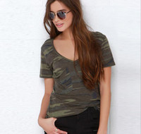 Cheap 2016 Summer Women's Camouflage T-shirt Short Sleeve V Neck Tops Tee Lady's Casual Tops T Shirt