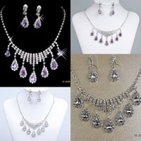 Wholesale Jewelry Sets Wedding Bridal Prom Rhinestone Crystal Jewelry Necklace Earring Set Bridal Accessories Hot Sale