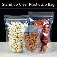 Precio de Bolsas de plástico para alimentos-100pcs / lot 160micron Stand up bolsa de plástico transparente de Ziplock bolsa de plástico transparente de embalaje de regalo Bolsa a prueba de humedad de la exhibición de alimentos