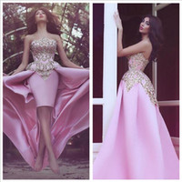 Wholesale Said Mhamad Overly Skrit Prom Dresses Sheath Short Dresses With Satin Train Overly Skrit And Appliques Over Bodice