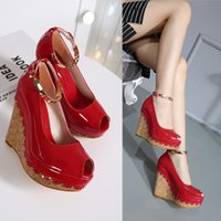 Cheap Fashion New Fish Head Wedge Sandals Patent Leather High Heel Sandals Womens Shoes Thick Bottom Platform Shoes