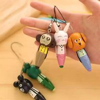 Wholesale cartoon animal pen mobile phone chain wooden ball point pen