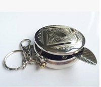 Wholesale High quality Mini ashtray portable stainless steel metal circular ashtray key chain smoke necessary tools ashtray