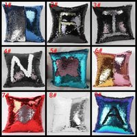 Wholesale Hot sale Double Sequin Pillow Case cover Glamour Square Pillow Case Cushion Cover Home Sofa Car Decor Mermaid Christmas Pillow Covers ZJ