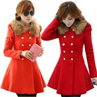 Wholesale 2016 New Fashion Korean Women Wool Coats Full Sleeve Solid Double Breasted Winter Autumn Coat Fur Collar Manteau Long Femme FS0756