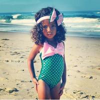 Ruffle big bow bikini - 2016 Mermaid Summer Beach Swimwear Children Big Bow Swimsuit Bikini Bath suit Beachwear with bow headband outfit