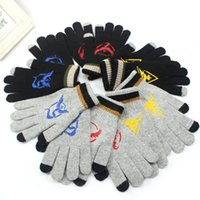 Wholesale Poke go Pikachu Gloves Men women big kids Sticker Instinc Mystic Valor Instinct camp Logo Cartoon Knitted Five Fingers Gloves B001