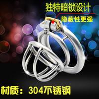 Wholesale 2016 Latest design cage Stainless steel Male bondage devices double peak shape Sex Toys For Men Chastity Belt Penis Rings bdsm sm