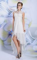 Wholesale Hi Lo dress Sleeveless and Jewel Collar skirt white chiffon dress Embroidered and Beaded Tulle Beach mini skirt Wedding Dresses