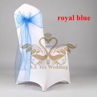 Wholesale White Wedding Lycra Spandex Chair Cover With Royal Blue Color Organza Chair Sash