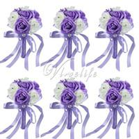 al por mayor broche de la cinta mini seda-6PCS / LOt mini ramo de la novia siete flores de espuma flores artificiales broche de bouquet de boda con cinta de seda PearlRhinestone para la decoración de la boda