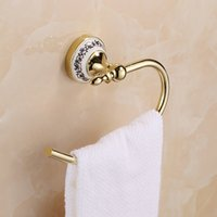 bathroom towel bars and accessories - Towel Ring Solid Brass Copper Golden Finished Bathroom Accessories Products Towel Holder Towel bar Blue and white porcelain