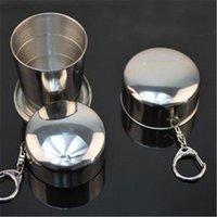 Wholesale Stainless Steel Camping Folding Cup Traveling Outdoor Camping Hiking Mug with Key Chain Portable Collapsible Foldable Cup Bottle
