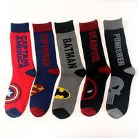 animal union - Avenger Union Captain America Superman Batmen Deadpool Punisher Street Tide Skateboard Sock Cotton Jacquard Men s Socks