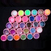 Wholesale new Color Glitter UV Gel Builder False Tips Acrylic Nail Art Polish Kit Set pink pot