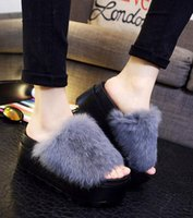 Wholesale Women Soft Touch Rabbit Fur Platform Slide Sandals Fashion Slippers