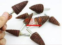 Wholesale 28pcs Impeller Conical Wheel Sandpaper Grinding Head With Handle Pointed Cone Wood Metal Polishing Burnishing Buffing Grinder Tool
