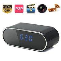 alarm clock nanny cam - HD P Alarm Clock Camera Mini Wifi Network Camera With IR Night Vision Motion Detection Camcorder Wireless Video DVR Nanny Cam