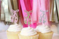 baby cupcake ballet - Glitter Ballet Slipper Cupcake Toppers girl baby shower baptism wedding Ballet Birthday Dance Party Decor