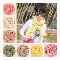 Wholesale Children Cotton Linen Scarves For Kids Girls Autumn Winter Warm Leaf Scarf Bowknot Star Scarf Wraps
