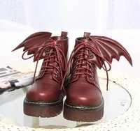Cheap Street Style Cool Angel Wings High Platform Lace Up Martin Boots Women Fashion Shoes 2017