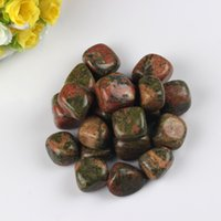 Wholesale Natural assorted g River Unakite Kiwi Tumbled Stone Beads Blue Points Crystal Healing Reiki Polished Free pouch