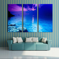 art painting fantasy - 3 Picture Combination canvas wall art Fantasy Purple Sunset Beach Painting The Picture Print On Canvas landscape For Home Decor