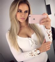 Wholesale The new European and American fashion trade bandage solid color V neck long sleeved lace shirt cuffs