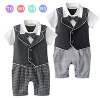 baby boy one piece lot - 4pcs Short Sleeve Babies Boy Romper Gentleman One Piece Suit Cotton Kids Clothes Baby Girls One piece Rompers Jumpsuit KB485