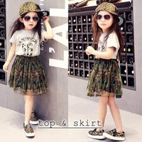 Girl Spring / Autumn Sleeveless 2016 NEW Summer kids Girls camouflage letter t-shirt top tees + girls camo tutu lace skirt set two-piece sets for girls free shipping