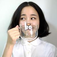 Wholesale Creative Cartoon Cat Face Glass Cute Cat Transparent Coffee Mug Zakka Tea Cup