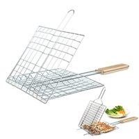 barbecue fish basket - 1pc High Quality Silver Grill Basket Wooden Handle Grill Barbecue Fish meat Vegetables Kitchen x cm