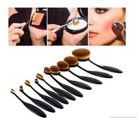Wholesale Professional Makeup brush Oval Toothbrush Shape Women set Foundation Eye Shadow Blusher Soft Shape Curve Brushes Foundation Cosmetic Tools