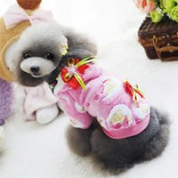 Wholesale 2016 New Cute Flower Pet Dog Fleece Soft Coat Pajamas Winter Puppy Cat Hoodie Clothes