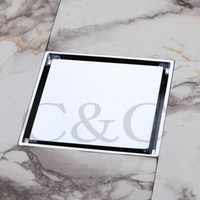 Wholesale 4 Inch Bathroom Floor Drain Sink Grate Waste Silver Color Copper Chrome Square