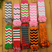 Wholesale Baby Leg Warmer Posh Cotton Halloween Chevron Zigzag Kids Baby Leg Warmers Ruffle Socks