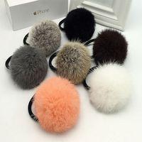 Cheap girl women lovely rabbit fur pompom elastic hair band fur ball hair accessorily for girls' hair accessories