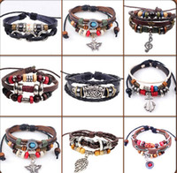 antique platinum bracelet - 30pcs new Designs Leather Bracelet Antique Cross Anchor Love Peach Heart Owl Bird Believe Pearl Knitting Bronze Charm bracelets