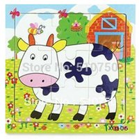 assorted puzzles - pc wooden Animal Puzzle Assorted Baby Toy Jigsaw Cartoon Cow Frogs Swan Puzzle
