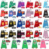 batman pieces - 70 CM Double Side kids Superhero Cape Batman Ironman Ninja Turtles Spiderman Captain America Supergirl kids capes with mask in stock