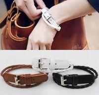 amazon leather bracelets - Hot On Amazon Fashion Simple Buckle Mutli Layer Bracelet For Lady PU Leather Bracelets Bangles for Women Charm Wristband
