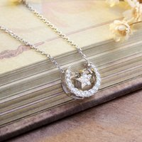 actress love - 925 silver necklace silver jewelry chain simple clavicle actress month South Korea female sweet pendant accessories