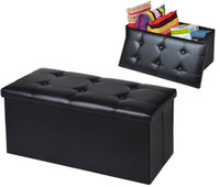 leather furniture - Faux Leather Storage Bench Sofa Seat Folding Foot Stool Footrest Black