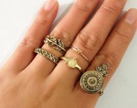 antique style engagement ring settings - Women jewelry rings antique finish leaf and pearl enviromental friendly alloy ring sets European style