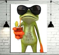art glass paint - Cool frog with glasses Pure Hand Painted Contemporary Wall Decor Art Oil Painting On High Quality Canvas customized size accepted moore2012
